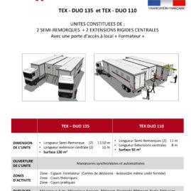 TEX-DUO 135 et TEX-DUO 110  unité mobile de formation professionnelle